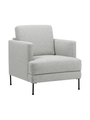 Sessel Fluente, Bezug: Polyester 45.000 Scheuert, Gestell: Massives Kiefernholz, Füße: Metall, lackiert, Webstoff Hellgrau, B 76 x T 83 cm