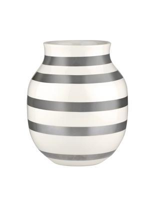 Handgefertigte Design-Vase Omaggio, medium, Keramik, Silberfarben, Weiß, Ø 17 x H 20 cm