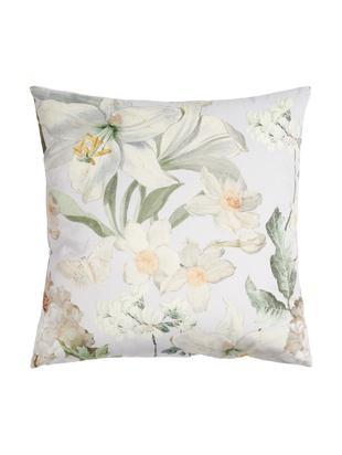 Samt-Kissen Rosalee mit Blumen-Muster, mit Inlett, Polyestersamt, Hellgrau, Weiß, Beige- und Grüntöne, 50 x 50 cm