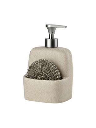 Komplet dozowników do mydła z gąbką Sand, 2 elem., Beżowy, srebrny, S 11 x W 19 cm