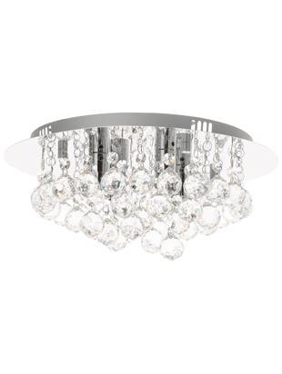 Lampa sufitowa Helena, Metal i szkło kryształowe, Srebrny, Ø 35 x W 18 cm