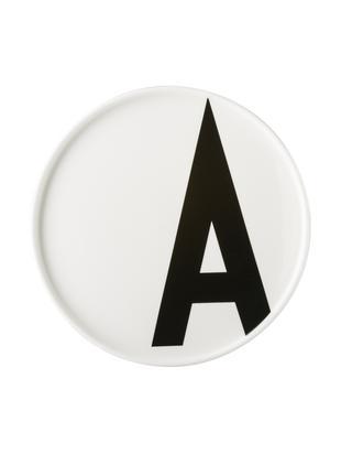 Piatto A, Porcellana Fine Bone China, Bianco, nero, Ø 22 x Alt. 2 cm