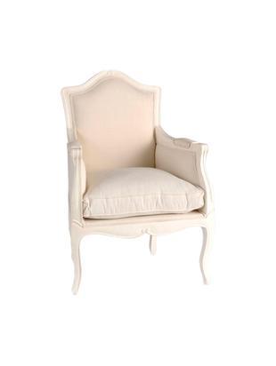 Sillón Apolline, Estructura: madera de caoba, Exterior: algodón, Blanco, crema, An 59 x Al 97 cm