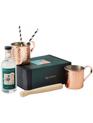 Geschenkset Gin, 7-delig, Beker: rosé verguld edelstaal, Muddler: beukenhout, Doos: karton, Koperkleurig, B 20  x D 17 cm