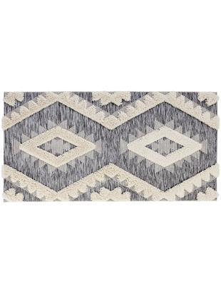 In- und Outdoorteppich Tiddas mit Hoch-Tief-Effekt in Grau-Creme, Flor: Polypropylen, Creme, Grau, B 80 x L 150 cm (Grösse XS)