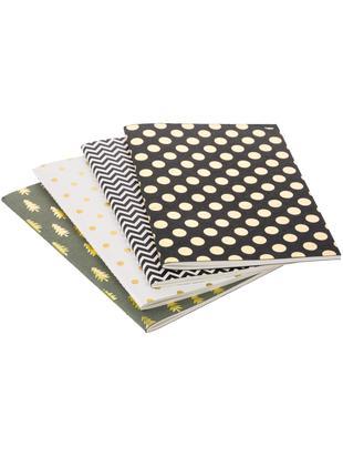 Komplet notatników Graphics, 4 elem., Szary, czarny, biały, S 21 x W 15 cm