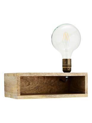 Aplique Shimy, con enchufe, Estructura: madera de mango, Cable: tela, Beige, latón, An 30 x Al 15 cm