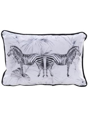 Poduszka z aksamitu z wypełnieniem Zebra, Aksamit poliestrowy, Biały, czarny, S 30 x D 45 cm