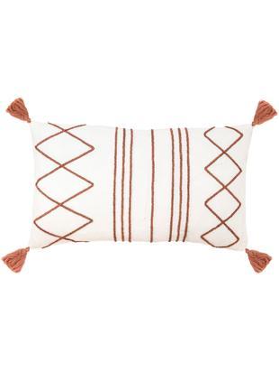 Kissenhülle Istanbul mit Hoch-Tief-Muster aus Chenille und Quasten, 50% Baumwolle, 50% Velours, Weiß, Rot, 30 x 50 cm