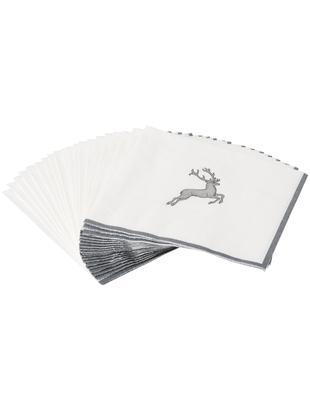 Tovaglioli di carta Grauer Hirsch, 20 pz., Carta, Grigio,bianco, P 33 x L 33 cm