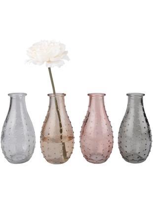 Vazenset Leona, 4-delig, Glas, Transparant, bruin, roze, grijs, Ø 8 x H 14 cm
