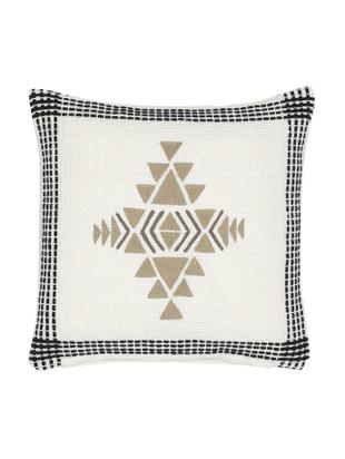 Cuscino reversibile con imbottitura Aztec, Rivestimento: PET riciclato, Bianco latteo, nero, beige, Larg. 45 x Lung. 45 cm