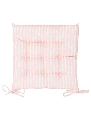 Outdoor-Sitzkissen Little Stripes, 2 Stück, Bezug: Polyester, Rosa, Weiß, 38 x 5 cm