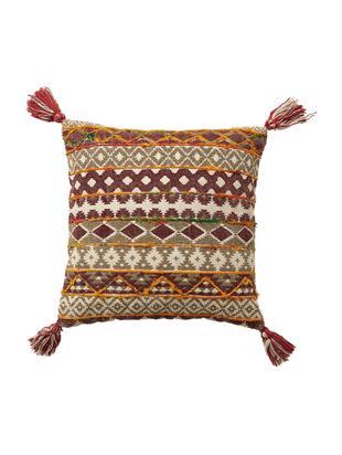 Haftowana poduszka  z wypełnieniem Mahesana, Beżowy, czerwony, żółty, zielony, S 45 x D 45 cm
