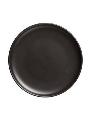 Speiseteller Okinawa, 4 Stück, Keramik, Schwarz, matt, Ø 27 cm
