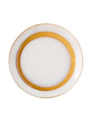 Handgemachte Dessertteller 70's, 2 Stück, Keramik, Weiß, Orange, Ø 18 cm