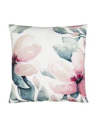 Cojín Petalia, con relleno, Funda: algodón, Blanco, tonos de rosa, tonos de azul petróleo, An 50 x L 50 cm