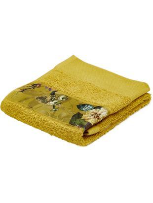 Ręcznik Fleur, 97% bawełna, 3% poliester, Musztardowy, wielobarwny, Ręcznik