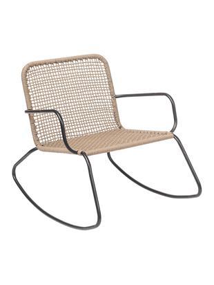 Schommelstoel Mundo, Frame: gepoedercoat metaal, Zitvlak: polyethyleen, Zwart, beige, B 73 x D 89 cm