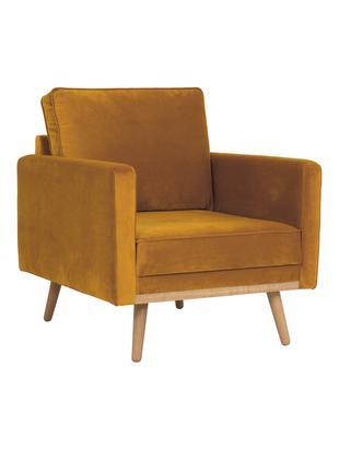 Samt-Sessel Saint, Bezug: Samt (Polyester) 35.000 S, Gestell: Massives Kiefernholz, Spa, Samt Senfgelb, B 85 x T 76 cm