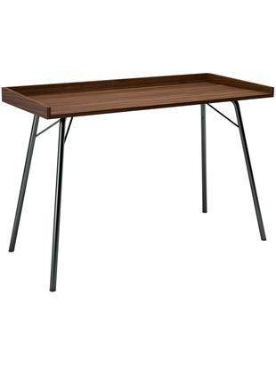 Schreibtisch Rayburn mit Walnussplatte, Tischplatte: Spanplatte, Walnussfurnie, Gestell: Stahl, pulverbeschichtet, Walnuss, Schwarz, B 115 x T 52 cm