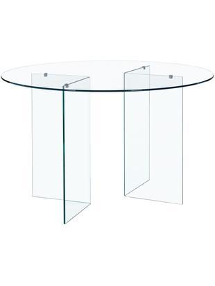 Runder Glas-Esstisch Iride, Tischplatte: Sicherheitsglas, wärmebeh, Transparent, Ø 130 x H 75 cm