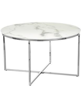 Couchtisch Antigua mit marmorierter Glasplatte, Tischplatte: Glas, matt bedruckt, Gestell: Stahl, verchromt, Tischplatte: Milchig, Marmor-Print<br>Gestell: Chrom, Ø 80 x H 45 cm
