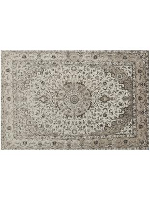Vintage Chenilleteppich Sofia in Beige-Grau, handgewebt, Flor: 95% Baumwolle, 5% Polyest, Beige, Grau, B 200 x L 300 cm (Grösse L)