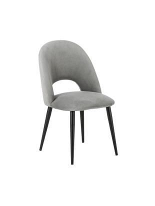 Fluwelen stoel Rachel, Bekleding: fluweel (hoogwaardig poly, Poten: gepoedercoat metaal, Lichtgrijs, B 52 x D 59 cm