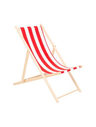 Tumbona plegable Hot Summer, Estructura: madera de haya, Rojo, blanco, haya, An 96 x F 56 cm