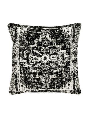 Vintage Kissenhülle Corie in Schwarz/Weiß, Vorderseite: 90% Baumwolle, 10% Polyes, Rückseite: 100% Baumwolle, Schwarz, Cremeweiß, 45 x 45 cm