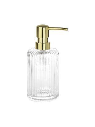 Zeepdispenser Gulji van glas, Glas, Transparant, goudkleurig, Ø 7 x H 17 cm