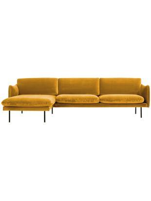 Fluwelen hoekbank Moby, Bekleding: fluweel (hoogwaardige pol, Frame: massief grenenhout, Poten: gepoedercoat metaal, Mosterdgeel, B 280 x D 160 cm