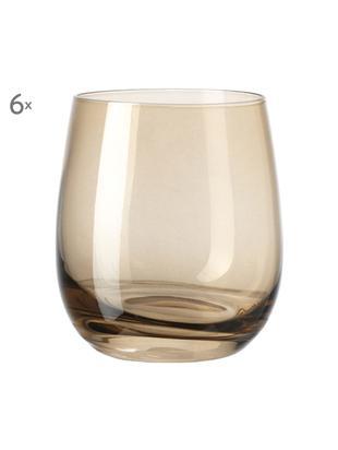 Bicchiere acqua di alta qualità Sora 6 pz, Vetro, Marrone chiaro, Ø 8 x Alt. 10 cm