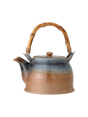 Ręcznie wykonany czajnik Aura, Porcelana, drewno bambusowe, Beżowy i odcienie niebieskiego, 1 l