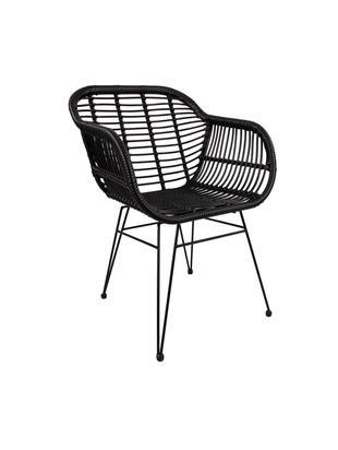 Polyrattan-Armlehnstühle Costa, 2 Stück, Sitzfläche: Polyethylen-Geflecht, Gestell: Metall, pulverbeschichtet, Sitzfläche: Schwarz Gestell: Schwarz, matt, B 60 x T 58 cm