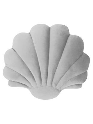 Samtkissen Shell, Vorderseite: 100% Polyestersamt, Rückseite: 100% Polyester, Hellgrau, 28 x 30 cm