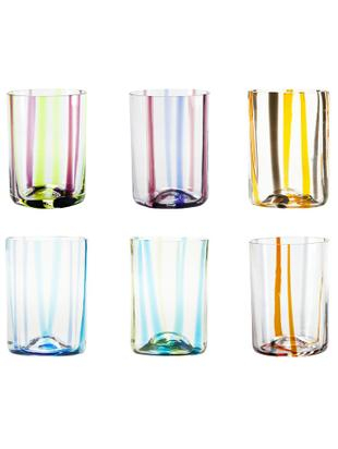 Bicchiere acqua in vetro soffiato Tirache, set di 6, Vetro, Multicolore, Ø 7 x Alt. 10 cm
