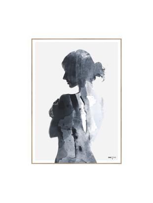 Gerahmter Digitaldruck Woman in Blue, Bild: Digitaldruck auf Papier (, Rahmen: Hochdichte Holzfaserplatt, Blautöne, Weiß, 50 x 70 cm