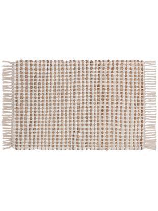 Tappeto in cotone/juta Fiesta, 55% cotone, 45% juta, Bianco, beige, Larg. 60 x Lung. 90 cm (taglia XXS)