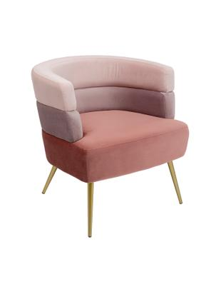 Samt-Sessel Sandwich im Retro-Design, Bezug: Polyestersamt, Beine: Metall, beschichtet, Samt Rosa, B 65 x T 64 cm
