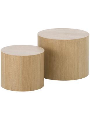 Beistelltisch 2er-Set Dan aus Holz, Mitteldichte Holzfaserplatte (MDF) mit Eichenholzfurnier, Hellbraun, Sondergrößen