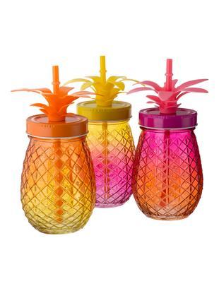 Komplet kubków ze słomką Pineapples, 3 elem., Różowy, pomarańczowy, żółty, Ø 9 x W 14 cm