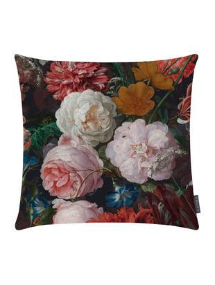 Fluwelen kussenhoes Fiore, Bedrukt polyester fluweel, Antraciet, roze, rood, geel, groen, blauw, 40 x 40 cm