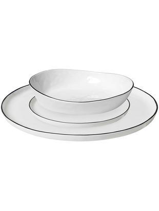 Handgemaakte bordenset Salt, 12-delig, Porselein, Gebroken wit, zwart, Verschillende formaten