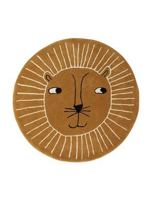 Alfombra de lana Lion, 80%lana, 20%algodón, Caramelo, negro, blanco, Ø 95 cm