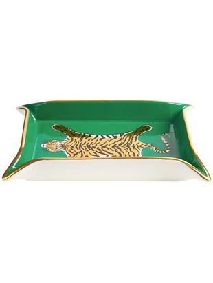 Schaal Tiger, Porselein, vergulde accenten, Binnenkant: groen, goud, beigetinten<br>Buitenkant: wit, B 18 x D 13 cm