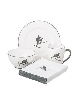 Servizio da colazione Toni, 4 pz., Ceramica, Grigio, bianco, Diverse dimensioni