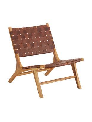 Leren loungefauteuil Coffee met houten frame, Frame: natuurlijk teakhout, Teakhoutkleurig, cognackleurig, B 63 x D 75 cm