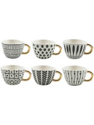 Koffiekopjes-set Masai, 6-delig, Keramiek, Zwart, wit, goudkleurig, Ø 7 x H 5 cm